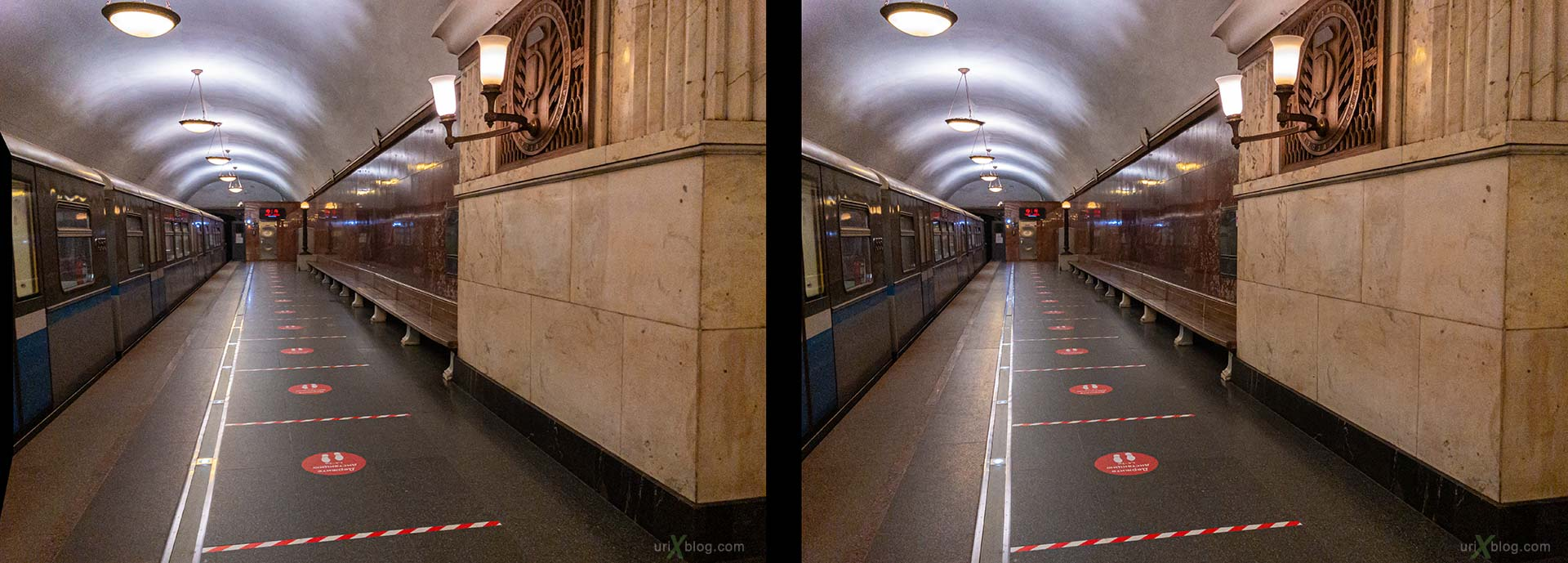 Electrozavodskaya, station, metro, quarantine, coronavirus, isolation, distance, Moscow, Russia, 3D, stereo pair, cross-eyed, crossview, cross view stereo pair, stereoscopic