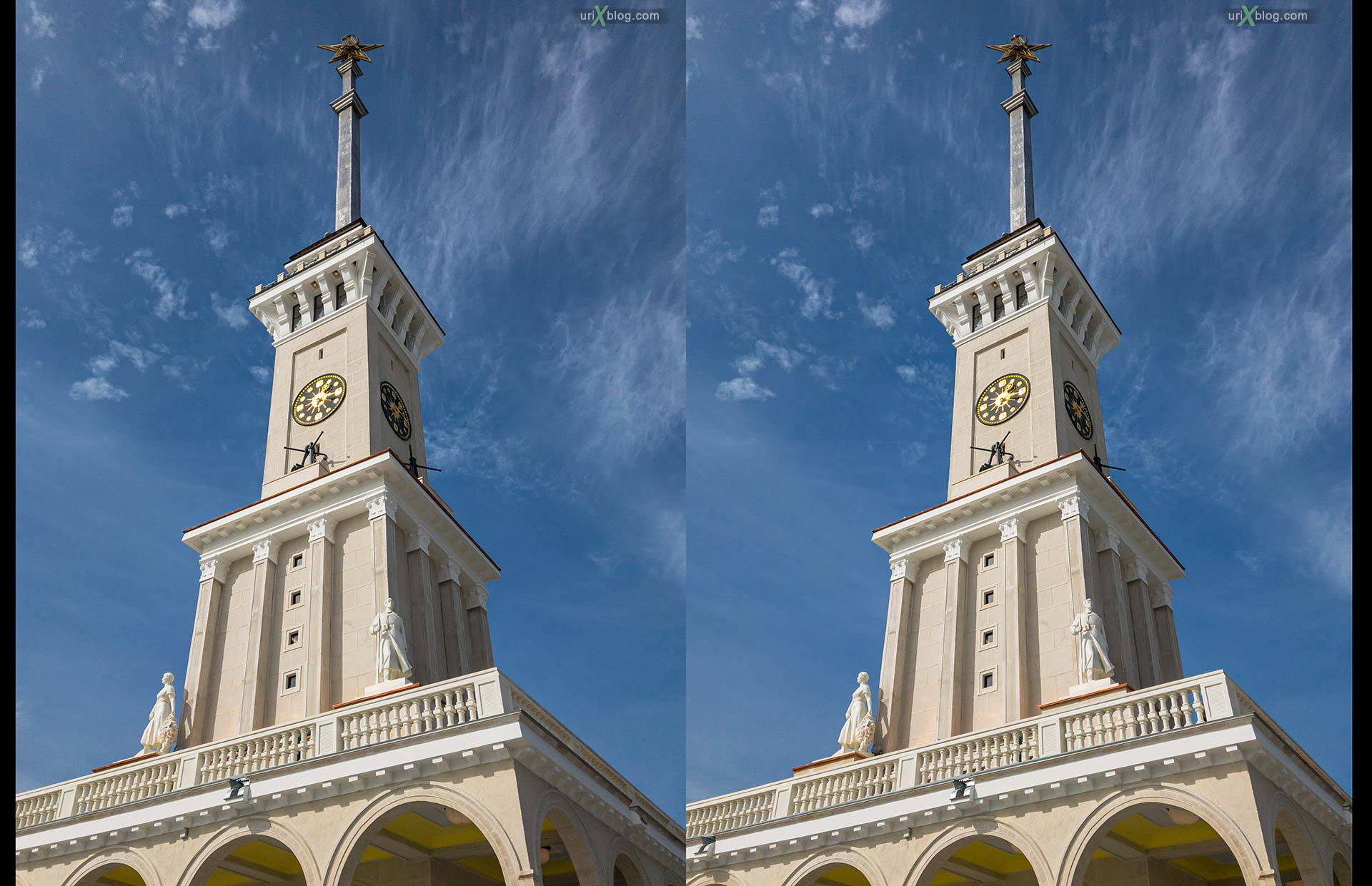 Northern River Terminal, spire, tower, Moscow, Russia, 3D, stereo pair, cross-eyed, crossview, cross view stereo pair, stereoscopic