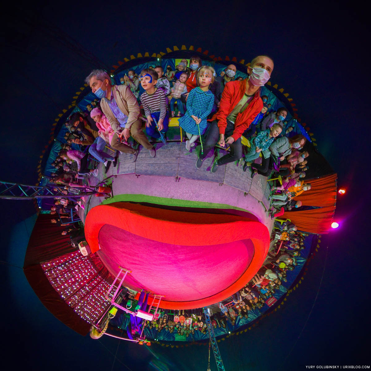 Shapito, circus, little planet, tiny planet, Pushkino, Moscow region, Russia, panorama, Insta360 One X
