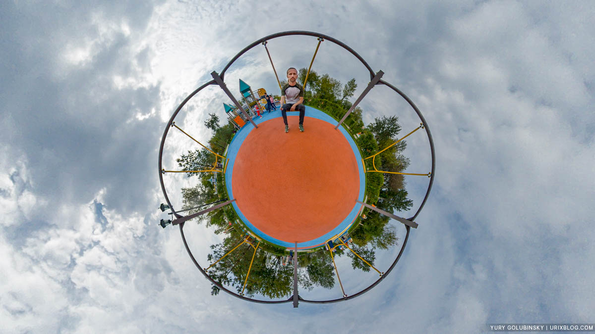 tiny planet, Dream Island, Moscow, Russia, playground, panorama, Insta360 One X, 360