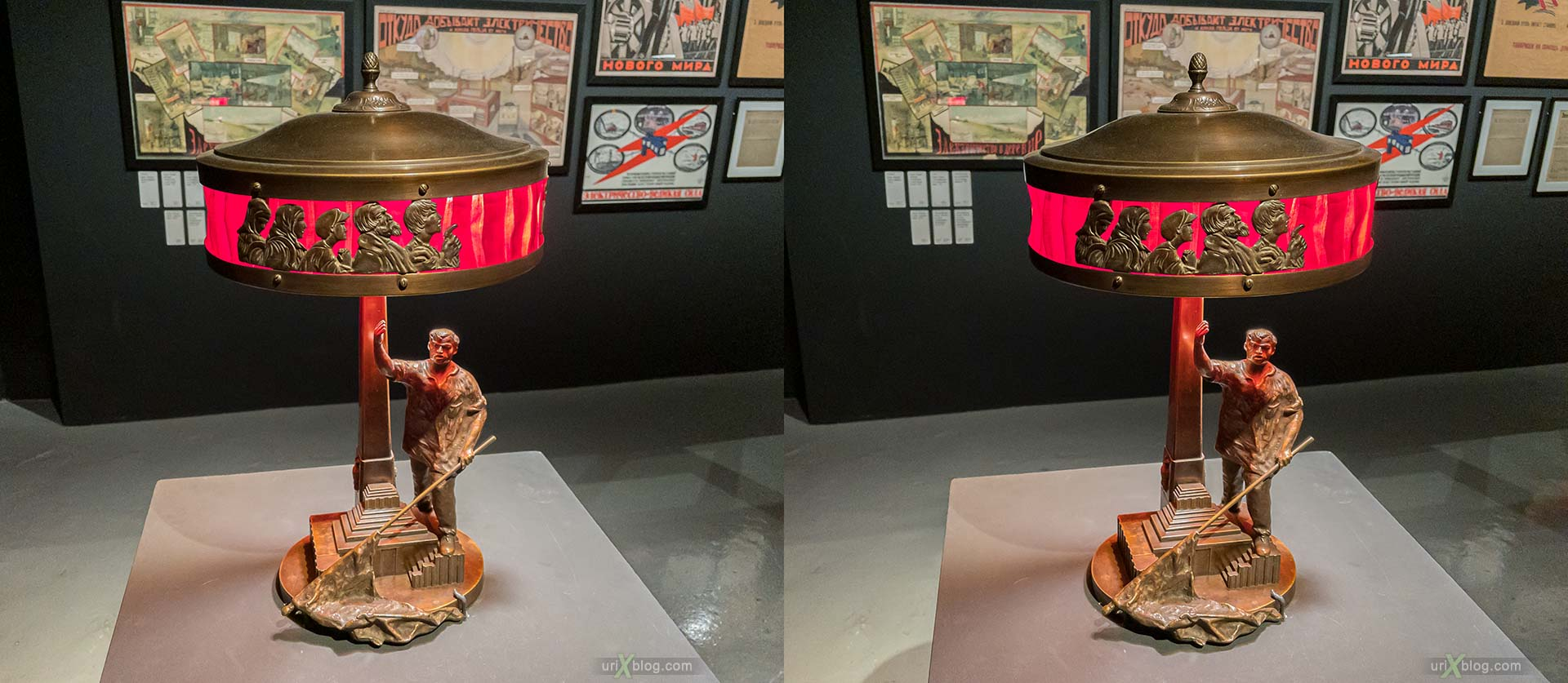 USSR, soviet, lamp, electrification, worker, statuette, Moscow, Russia, Museum of Moscow, 3D, stereo pair, cross-eyed, crossview, cross view stereo pair, stereoscopic