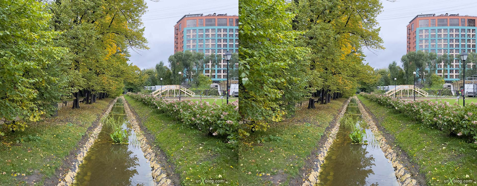canal, Pharmaceutical Garden, Russia, Moscow, 3D, stereo pair, cross-eyed, crossview, cross view stereo pair, stereoscopic