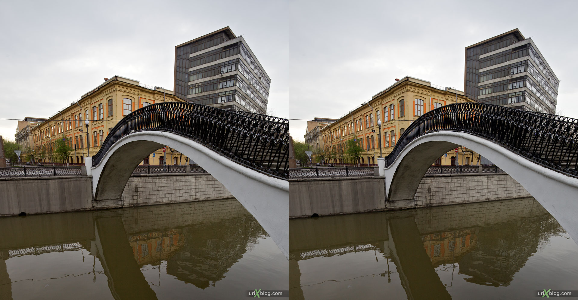 Right-Left stereo pair source source, Yauza river, Moscow, Russia