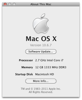 Mac OS X About Dialog 10.6.7 on my hackintosh