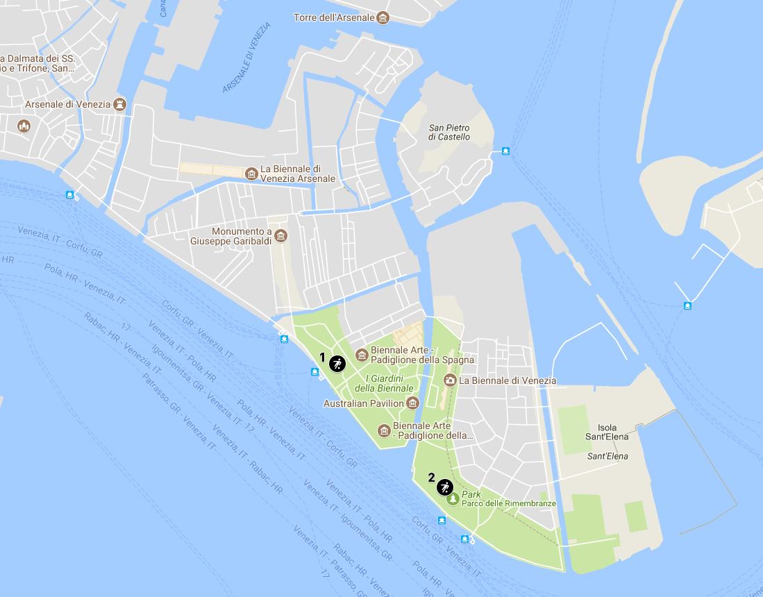 Детские площадки Венеции (Castello, Арсенал) - карта