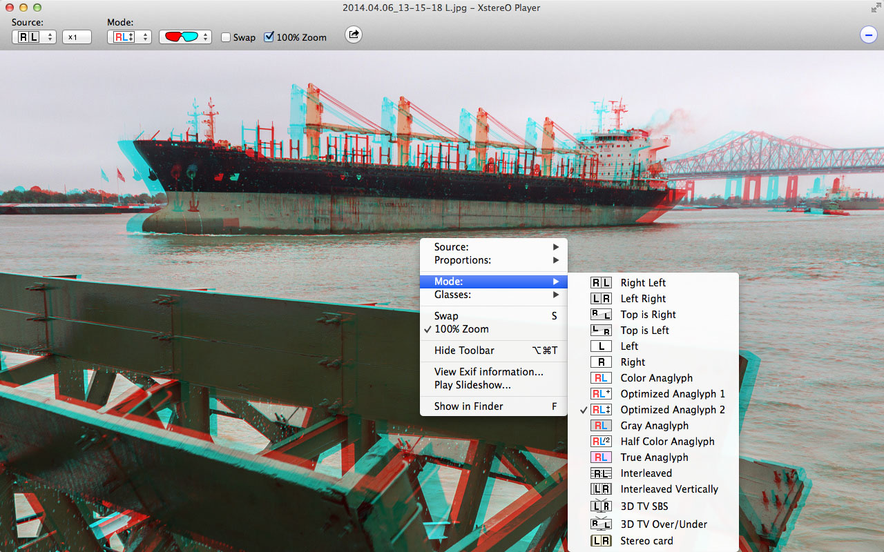 XstereO Player screenshot, Half Color anaglyph mode