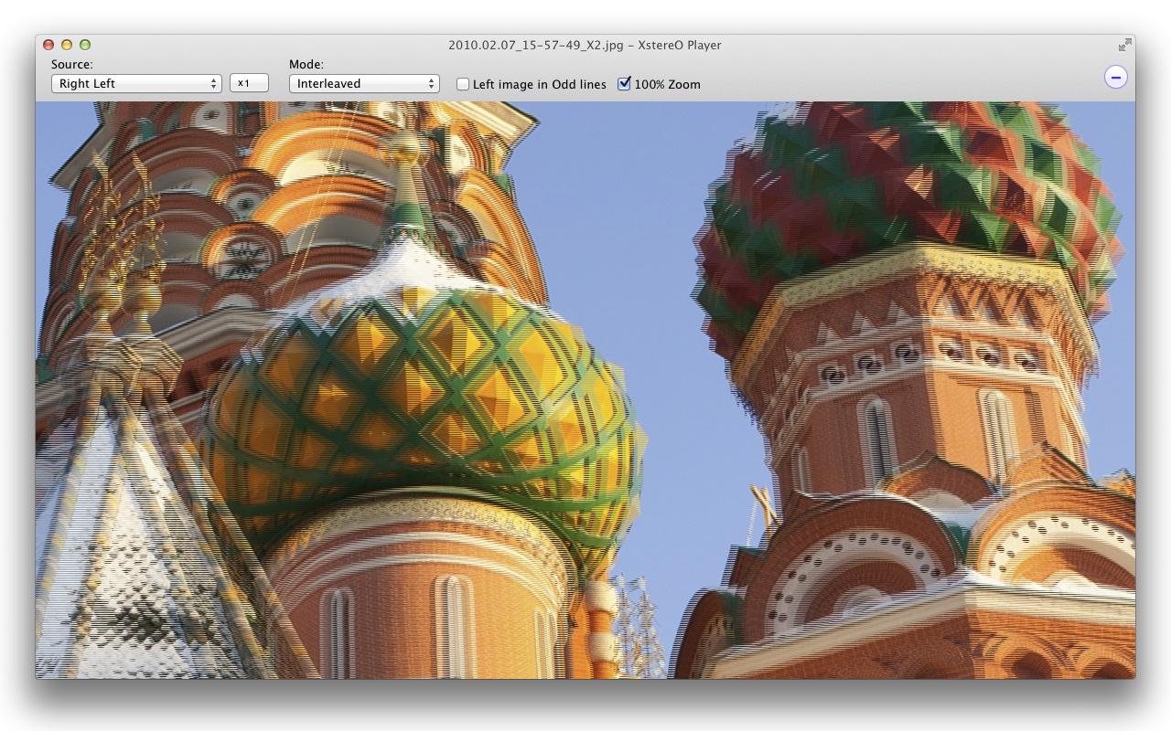 XstereO Player screenshot, interlaced mode