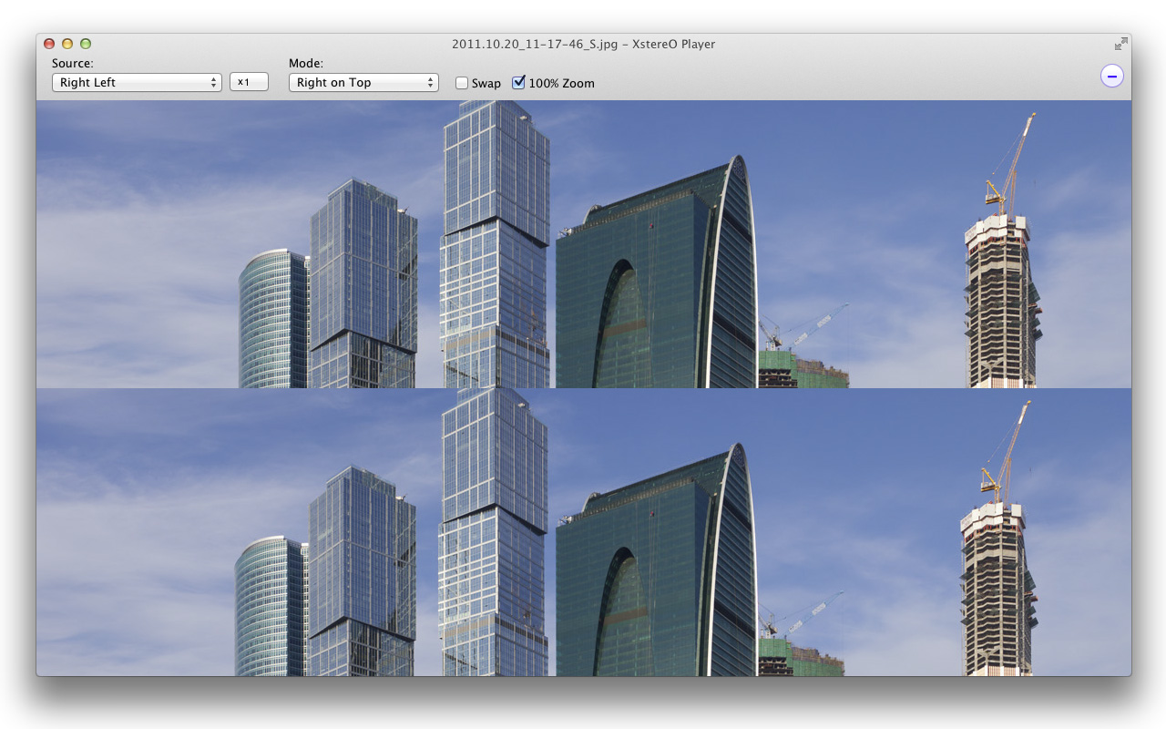 XstereO Player screenshot, side by side mode