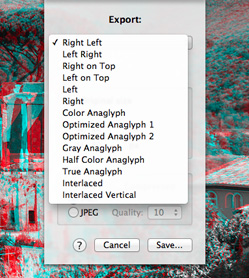xstereo export feature options screenshot