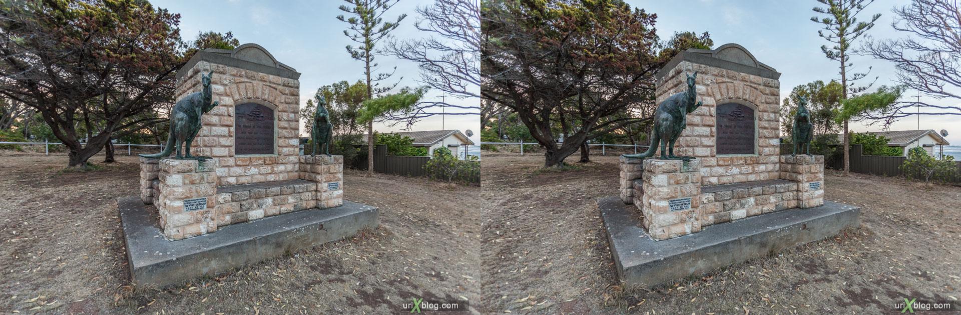 памятник, первооткрыватели, Kingscote, остров Кенгуру, Австралия, 3D, перекрёстная стереопара, стерео, стереопара, 2011