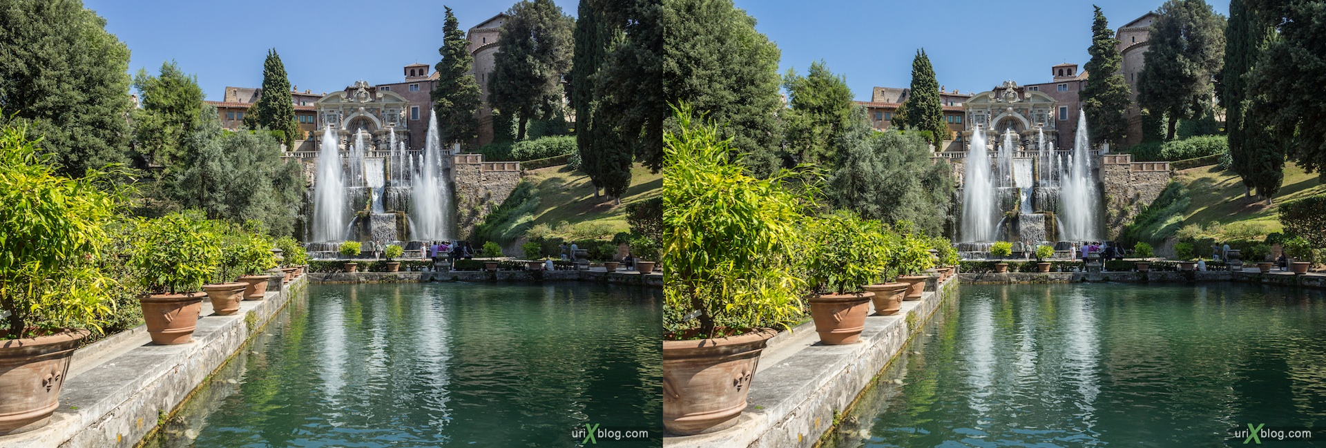 2012, Fountain of Neptune, villa D'Este, Italy, Tivoli, Rome, 3D, stereo pair, cross-eyed, crossview, cross view stereo pair