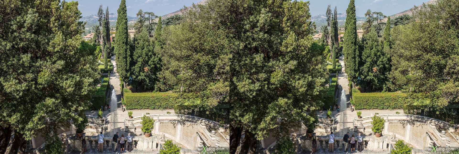 2012, Fountain of the Dragons, villa D'Este, Italy, Tivoli, Rome, 3D, stereo pair, cross-eyed, crossview, cross view stereo pair