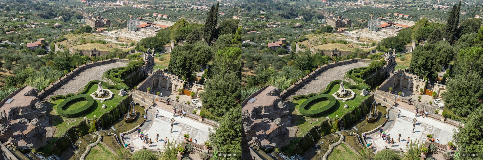 2012, Fountain of Rometta, villa D'Este, Italy, Tivoli, Rome, 3D, stereo pair, cross-eyed, crossview, cross view stereo pair