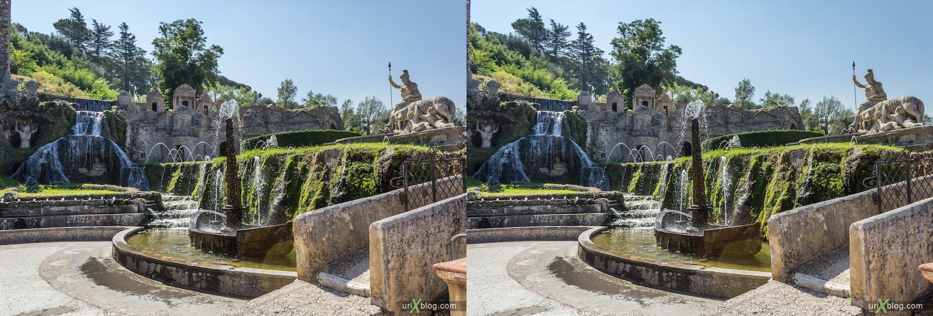 2012, Fountain of Rometta, Fontana della Rometta, villa D'Este, Italy, Tivoli, Rome, 3D, stereo pair, cross-eyed, crossview, cross view stereo pair