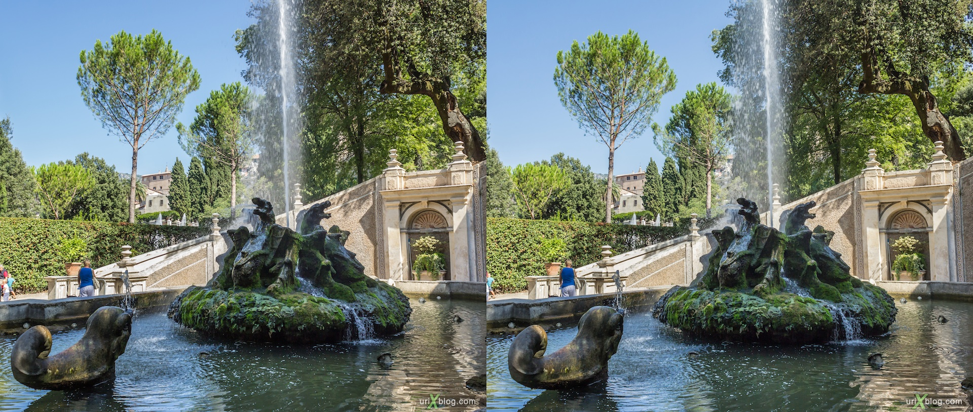 2012, Fontana dei Draghi, villa D'Este, Italy, Tivoli, Rome, 3D, stereo pair, cross-eyed, crossview, cross view stereo pair