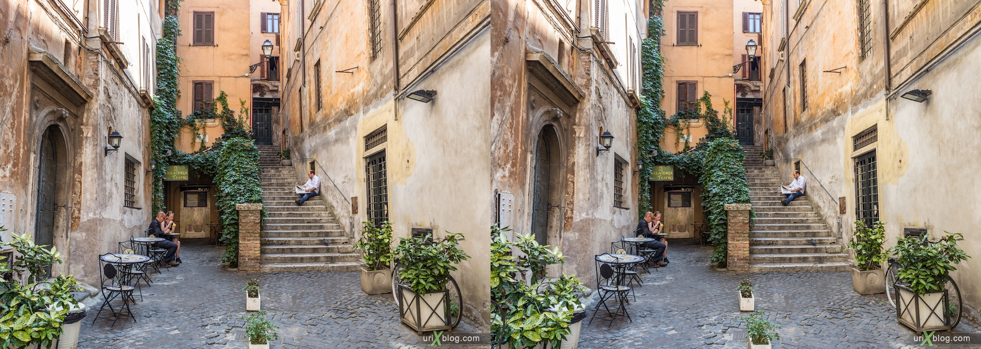 2012, piazza di San Salvatore in Lauro square, via dei Coronari street, corner, nook, backstreet, 3D, stereo pair, cross-eyed, crossview, cross view stereo pair