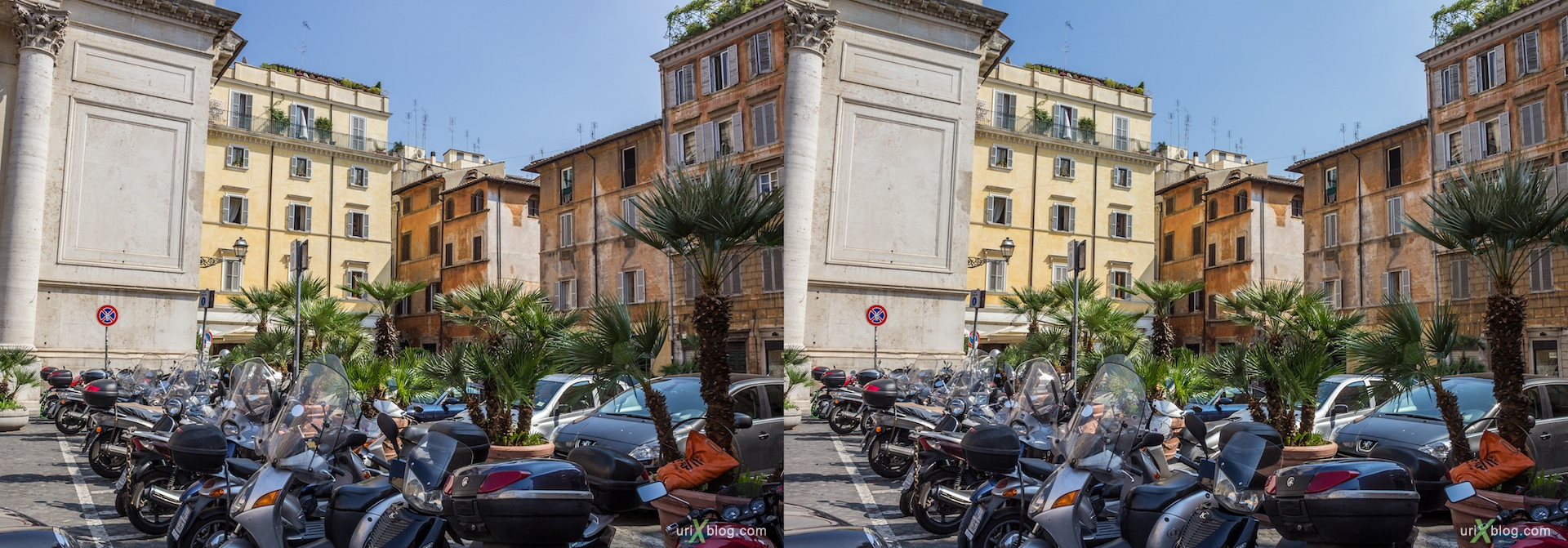 2012, Piazza di San Salvatore in Lauro square, 3D, stereo pair, cross-eyed, crossview, cross view stereo pair