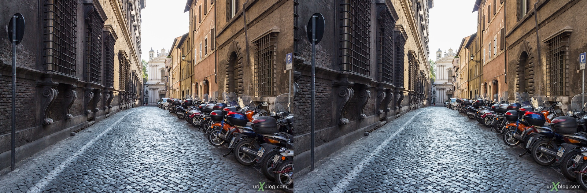 2012, piazza Farnese square, via dei Farnesi street, 3D, stereo pair, cross-eyed, crossview, cross view stereo pair
