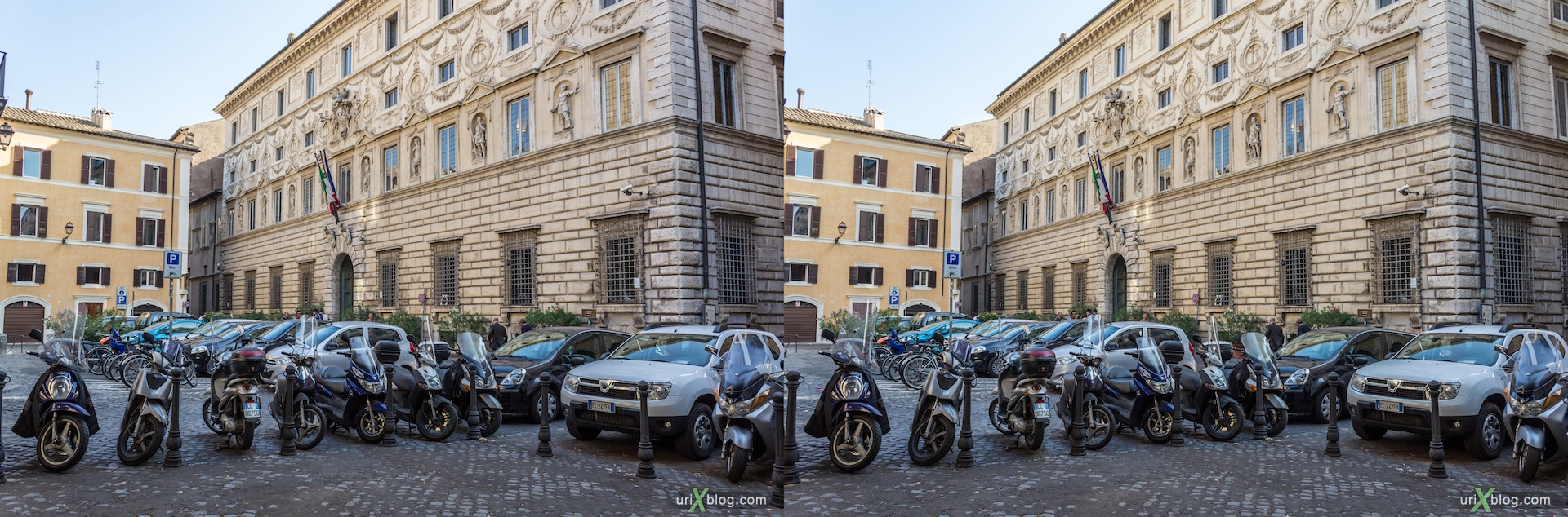2012, piazza della Quercia square, 3D, stereo pair, cross-eyed, crossview, cross view stereo pair
