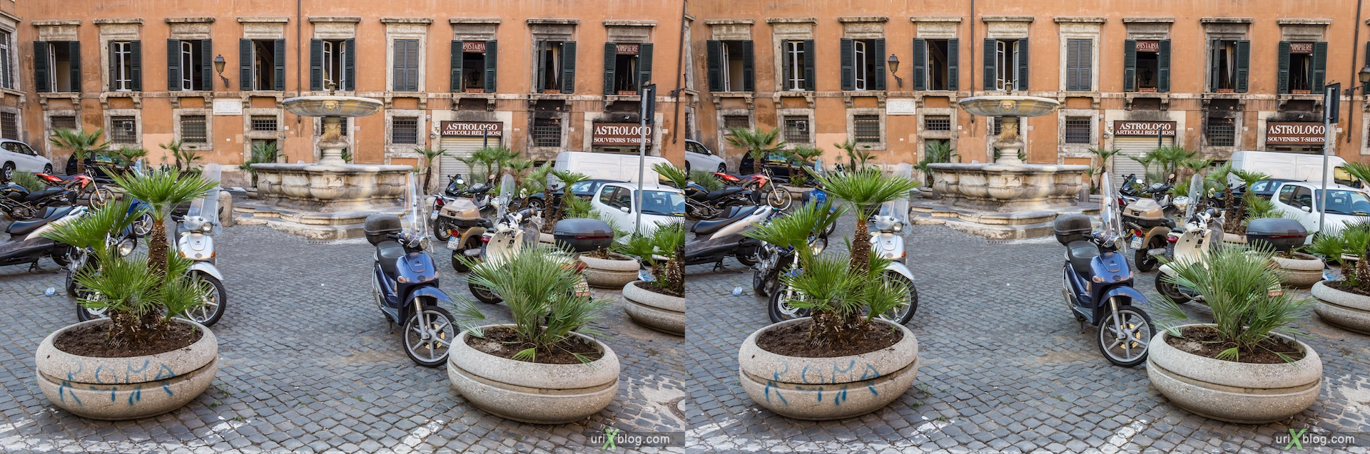 2012, Piazza delle Cinque Scole square, 3D, stereo pair, cross-eyed, crossview, cross view stereo pair