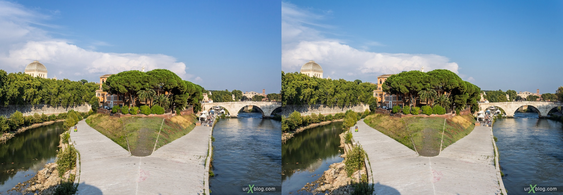 2012, Ponte Garibaldi bridge, Tiber island, Tiber river, 3D, stereo pair, cross-eyed, crossview, cross view stereo pair