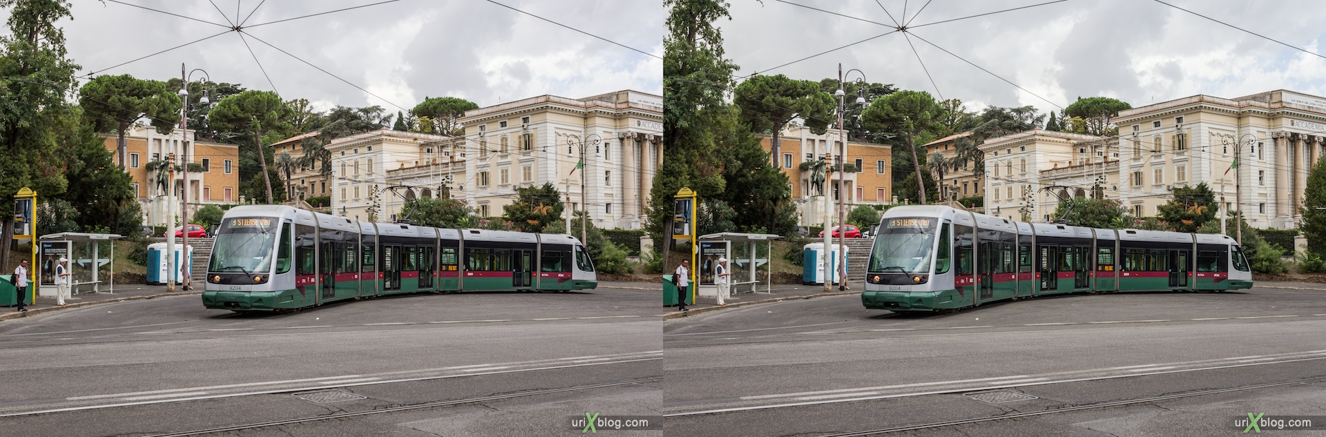 2012, Piazza Thorvaldsen square, tram, villa Borghese, 3D, stereo pair, cross-eyed, crossview, cross view stereo pair