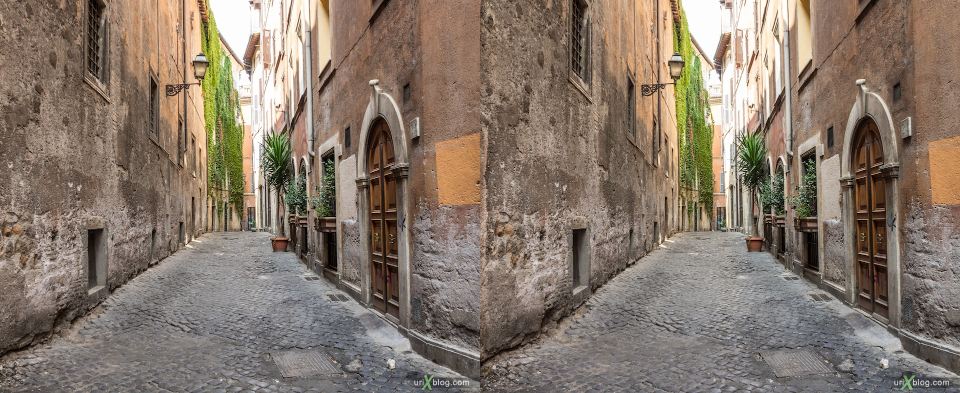 2012, vicolo della Volpe street, 3D, stereo pair, cross-eyed, crossview, cross view stereo pair
