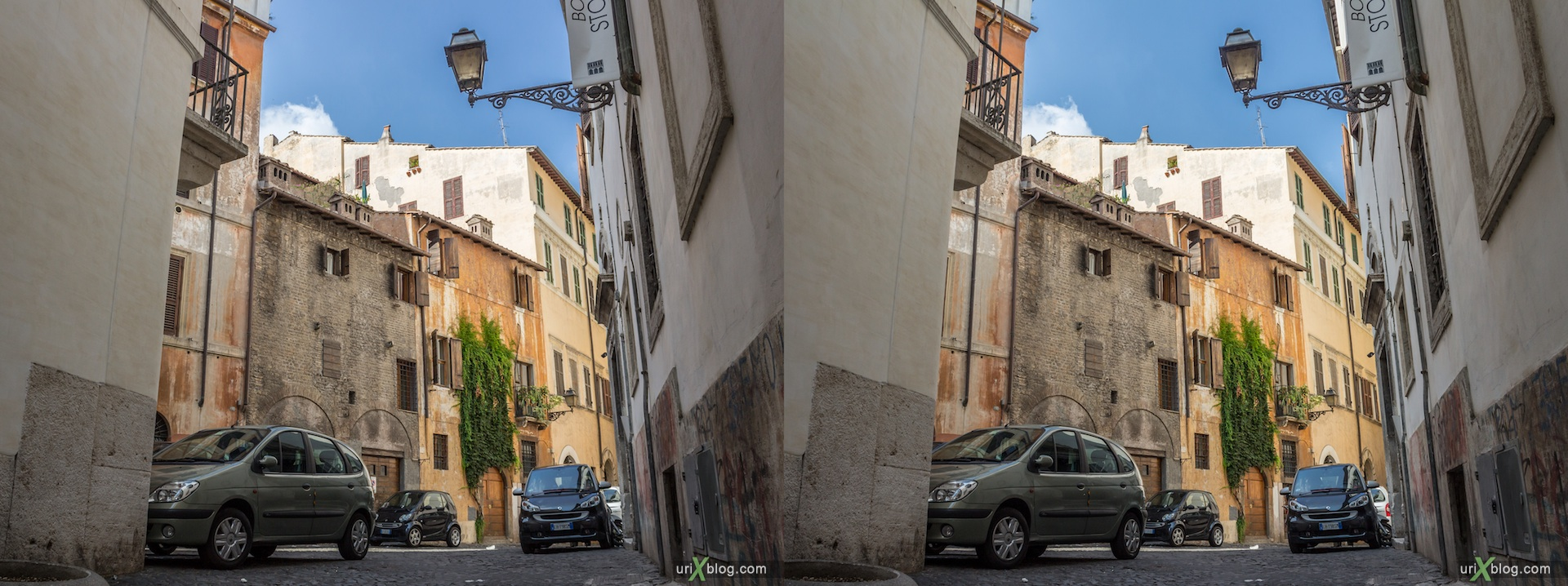 2012, vicolo degli Osti street, alley, 3D, stereo pair, cross-eyed, crossview, cross view stereo pair