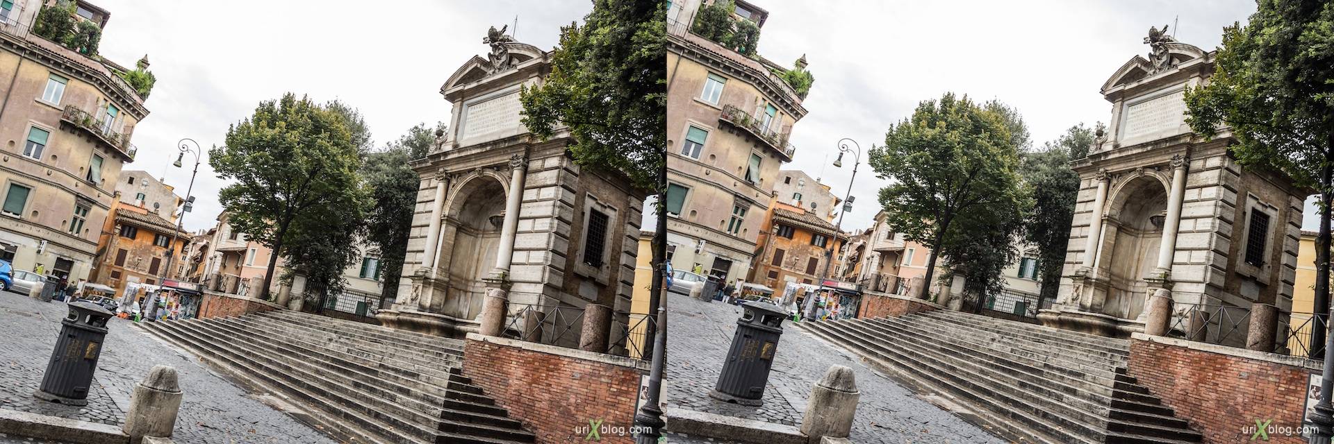 2012, fountain, Piazza Trilussa square, Rome, Italy, Europe, 3D, stereo pair, cross-eyed, crossview, cross view stereo pair