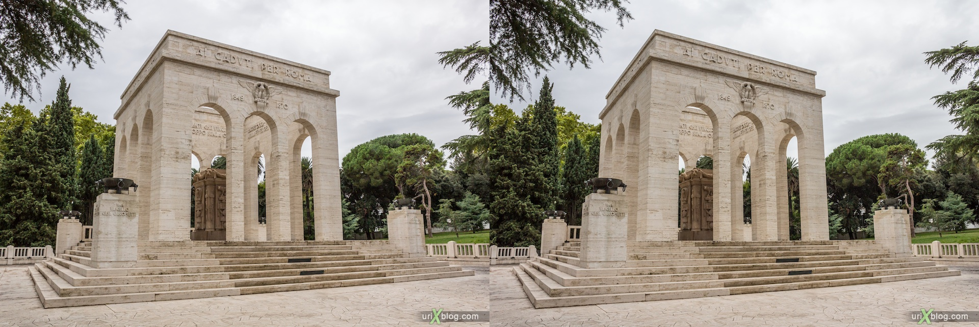 2012, Mausoleum of Garibaldi, Via Garibaldi street, Rome, Italy, Europe, 3D, stereo pair, cross-eyed, crossview, cross view stereo pair