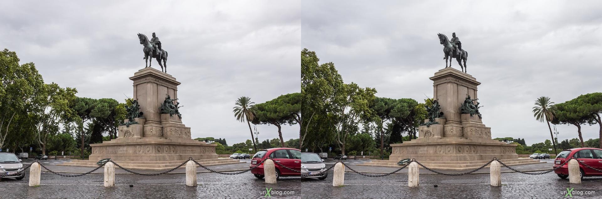 2012, Garibaldi square, Garibaldi statue, horse, Rome, Italy, Europe, 3D, stereo pair, cross-eyed, crossview, cross view stereo pair