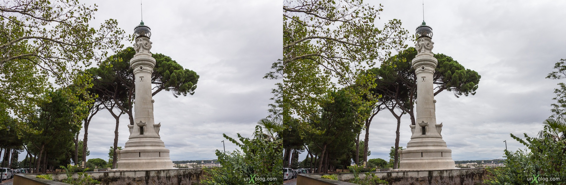 2012, Lighthouse of Gianicolo, Passeggiata del Gianicolo street, Rome, Italy, Europe, 3D, stereo pair, cross-eyed, crossview, cross view stereo pair