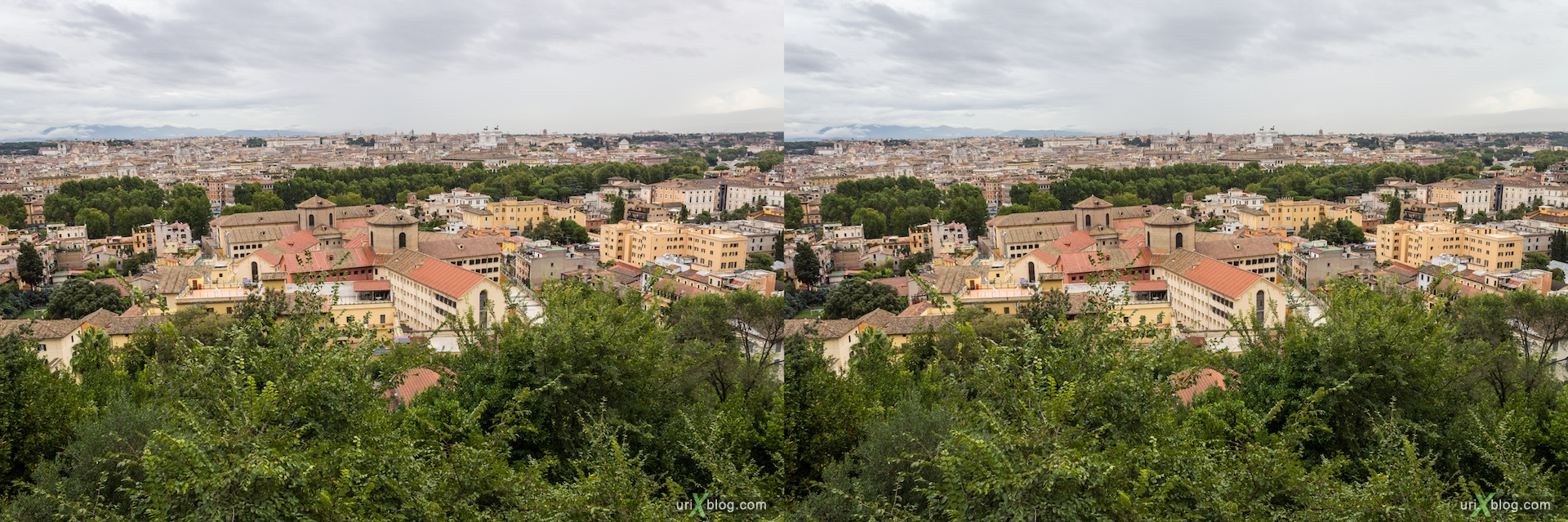 2012, Lighthouse of Gianicolo, Passeggiata del Gianicolo street, viewpoint, panorama, trees, city, Rome, Italy, Europe, 3D, stereo pair, cross-eyed, crossview, cross view stereo pair