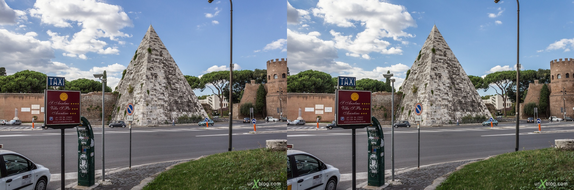 2012, Pyramid of Cestius, metro station, Rome, Italy, Europe, 3D, stereo pair, cross-eyed, crossview, cross view stereo pair