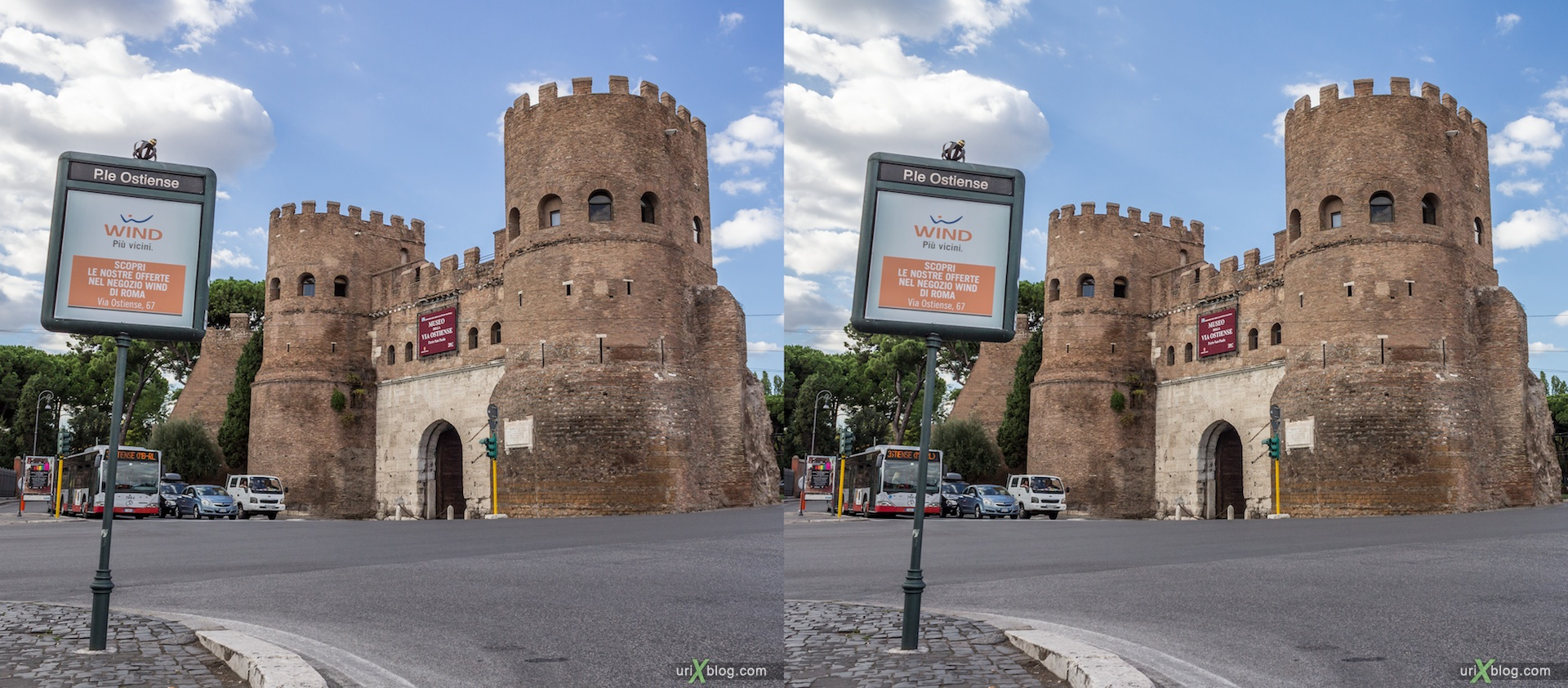 2012, Porta San Paolo gate, Pyramid of Cestius, Rome, Italy, Europe, 3D, stereo pair, cross-eyed, crossview, cross view stereo pair