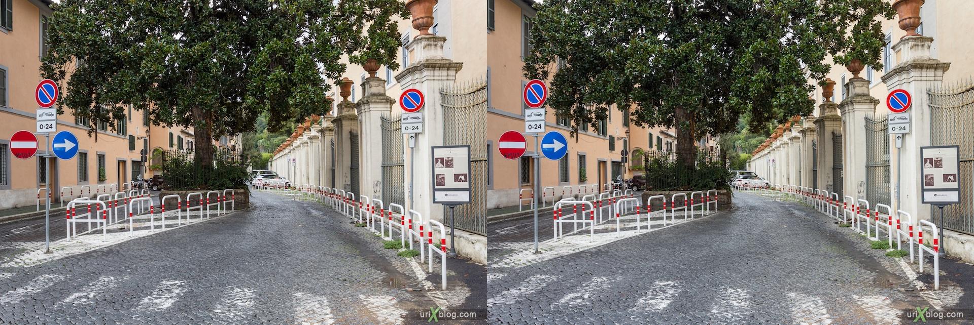 2012, Corsini street, della Lungara street, crosswalk, Rome, Italy, Europe, 3D, stereo pair, cross-eyed, crossview, cross view stereo pair