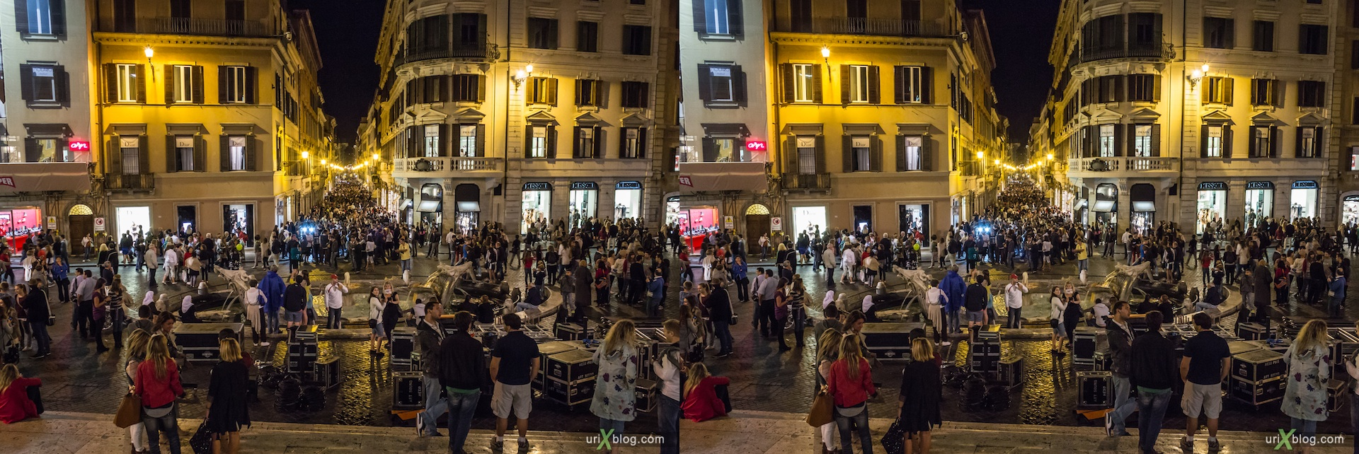 2012, Vogue Fashions Night Out, festival, Spanish square, Fountain of the Old Boat, via dei Condotti street, Rome, Italy, Europe, 3D, stereo pair, cross-eyed, crossview, cross view stereo pair