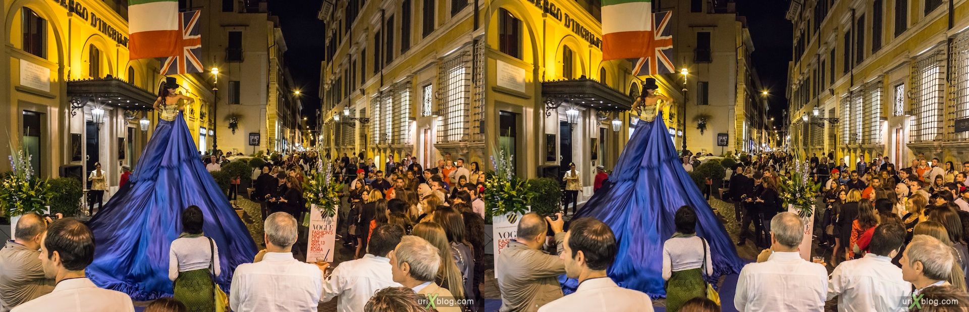 2012, Vogue Fashions Night Out, via Bocca di Leone street, via Borgognona street, crossroads, intersection, fastival, Rome, Italy, Europe, 3D, stereo pair, cross-eyed, crossview, cross view stereo pair