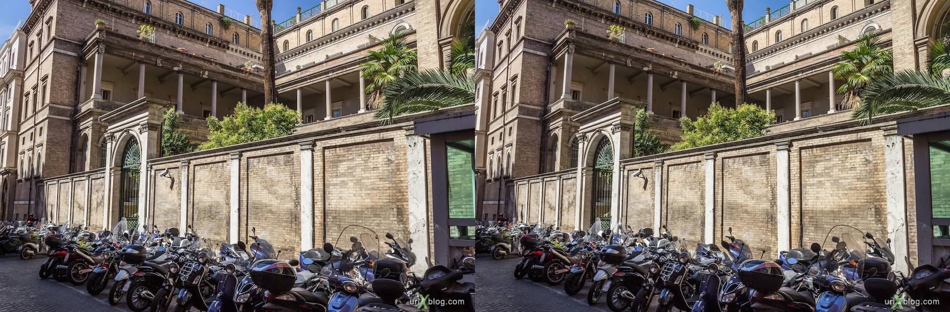 2012, wall, fence, Via di San Vitale street, Rome, Italy, Europe, 3D, stereo pair, cross-eyed, crossview, cross view stereo pair