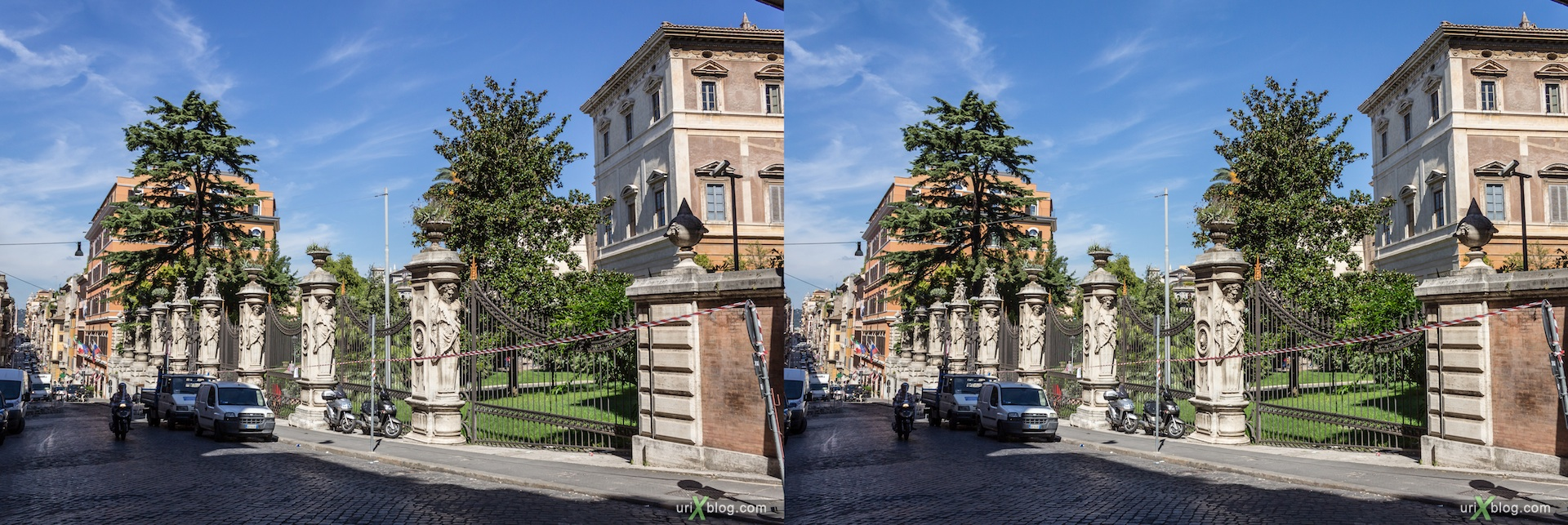 2012, fence, Barberini palace, Palazzo Barberini, Via delle Quattro Fontane street,Rome, Italy, Europe, 3D, stereo pair, cross-eyed, crossview, cross view stereo pair