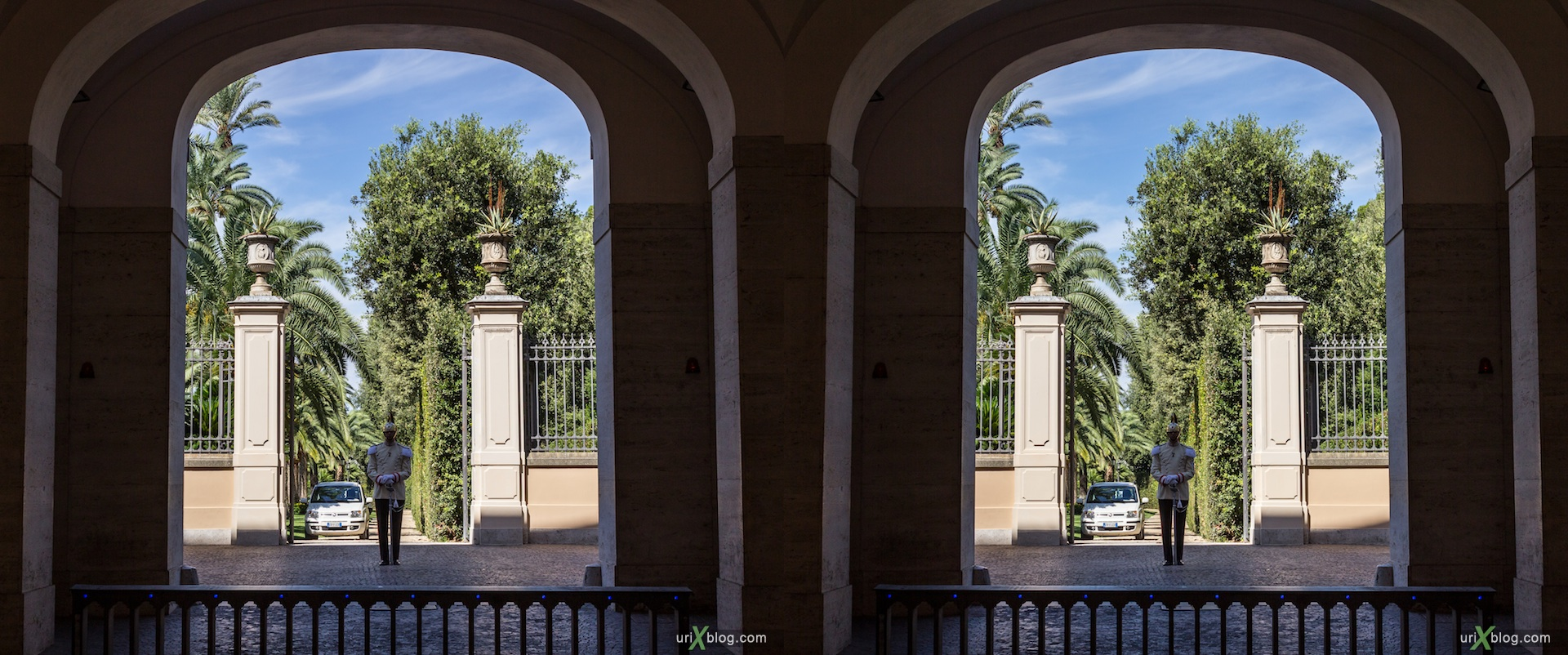 2012, Quirinal Palace, Residence of the President, soldier, Rome, Italy, Europe, 3D, stereo pair, cross-eyed, crossview, cross view stereo pair