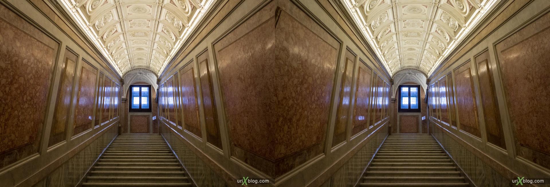 2012, Villa Farnesina, stairs, Rome, Italy, Europe, 3D, stereo pair, cross-eyed, crossview, cross view stereo pair
