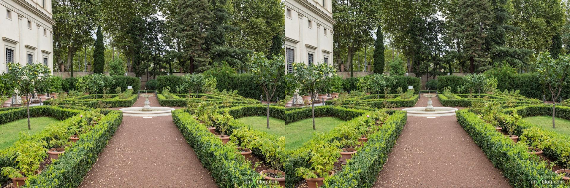2012, Villa Farnesina, fountain, Rome, Italy, Europe, 3D, stereo pair, cross-eyed, crossview, cross view stereo pair