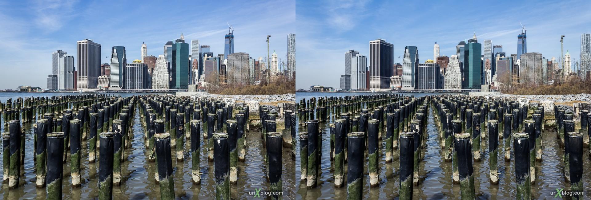 2013, Манхеттен, Бруклин, Нью-Йорк, США, 3D, перекрёстные стереопары, стерео, стереопара, стереопары