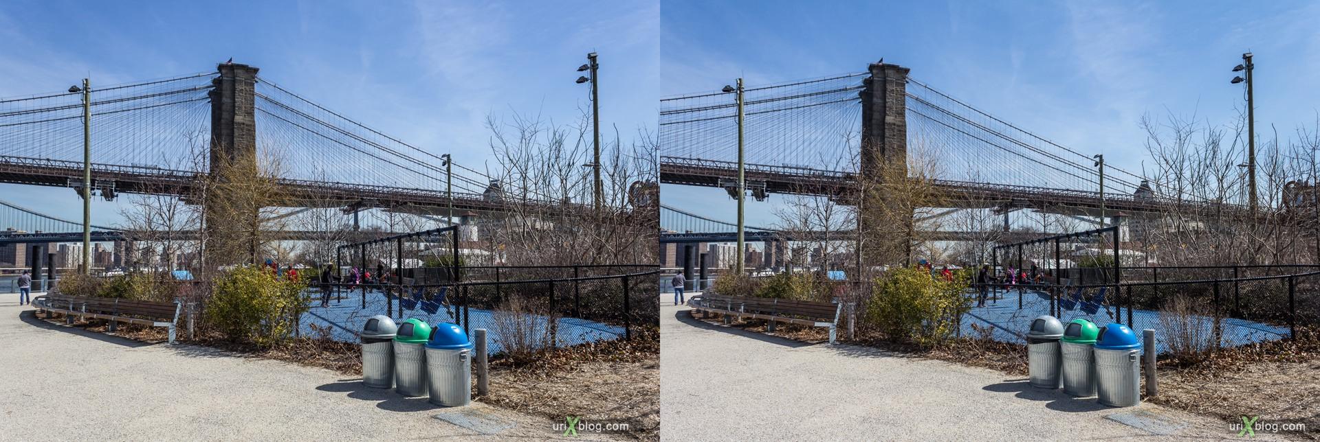 2013, Brooklyn Bridge парк, Бруклин, Нью-Йорк, США, 3D, перекрёстные стереопары, стерео, стереопара, стереопары