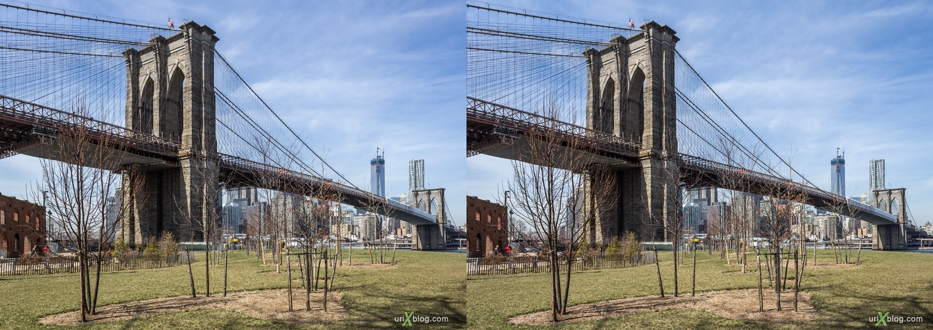 2013, Brooklyn Bridge парк, Нью-Йорк, США, 3D, перекрёстные стереопары, стерео, стереопара, стереопары