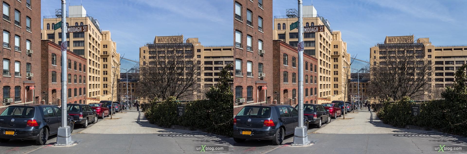 2013, Columbia Heights улица, Бруклин, Нью-Йорк, США, 3D, перекрёстные стереопары, стерео, стереопара, стереопары