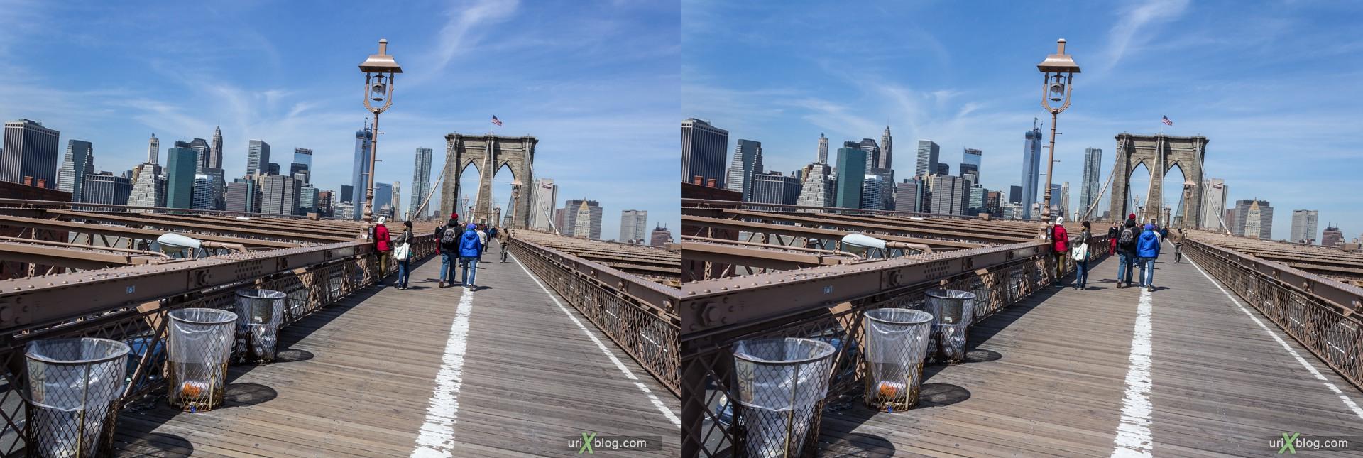 2013, Бруклинский мост, Нью-Йорк, США, 3D, перекрёстные стереопары, стерео, стереопара, стереопары