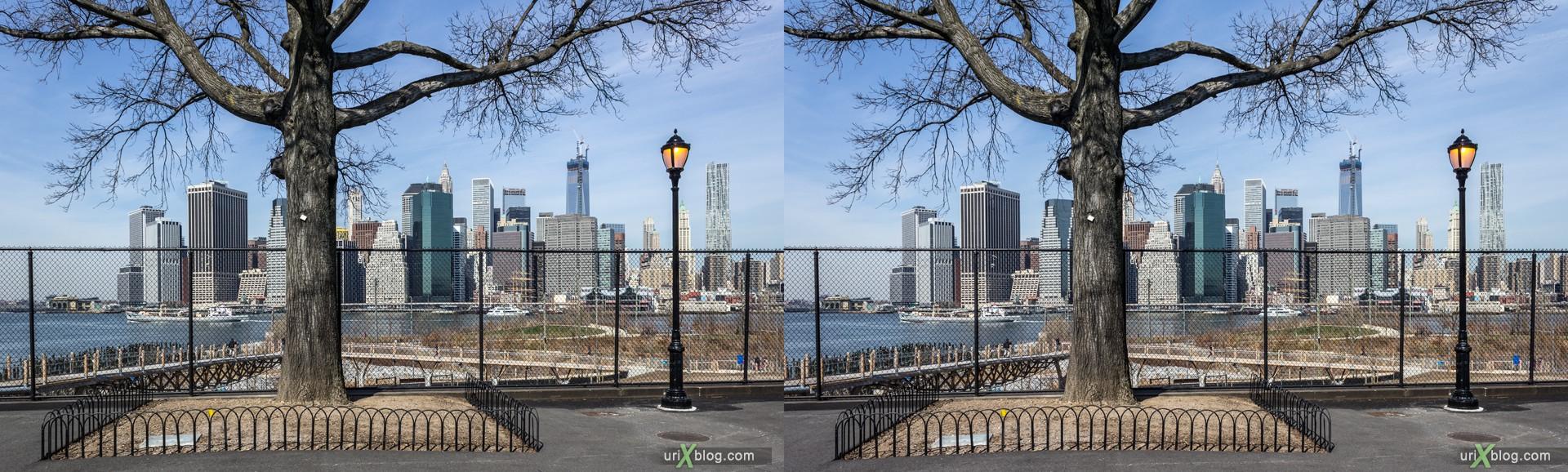2013, Squibb парк, Бруклин, Нью-Йорк, США, 3D, перекрёстные стереопары, стерео, стереопара, стереопары