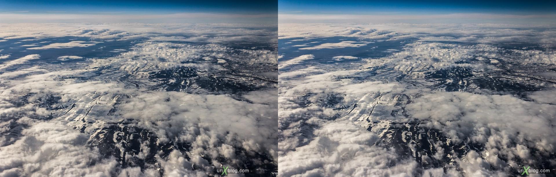 2013, штат Вайоминг, Скалистые горы, США, горы, облака, снег, панорама, самолёт, чёрно-белое, чб, 3D, перекрёстные стереопары, стерео, стереопара, стереопары